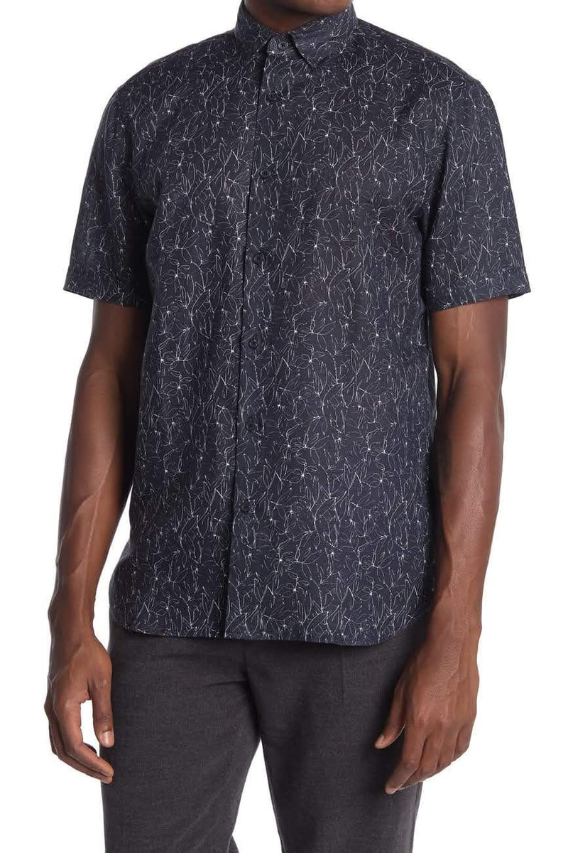 Toscano Navy Floral Short Sleeve Button Up Shirt