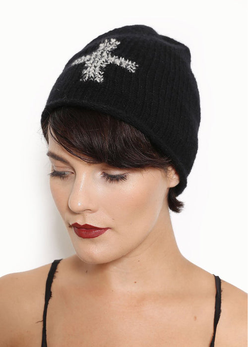 Iritdesigns Hand-knit Cashmere Beanie with Cross Design
