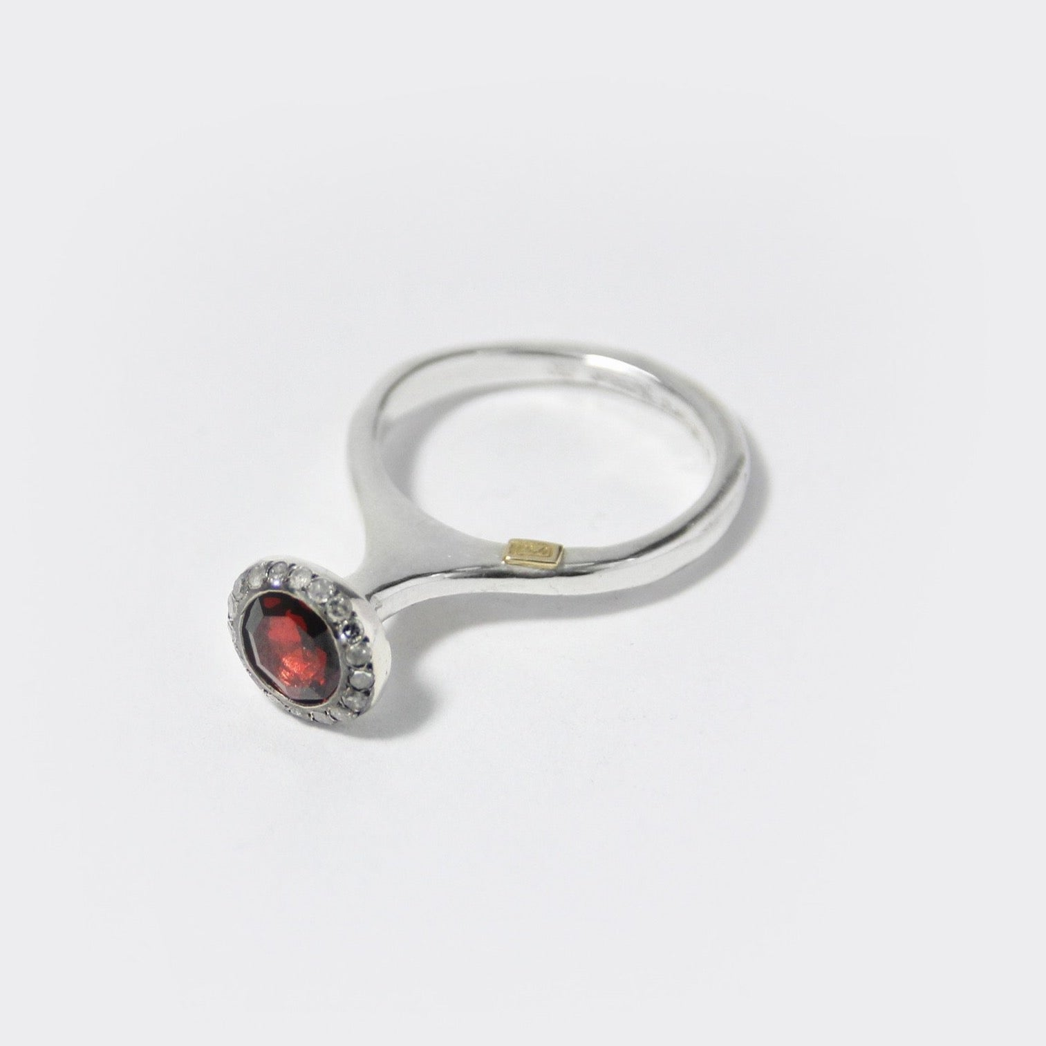 Belquis Ring with Garnet and Icy Gray Diamonds