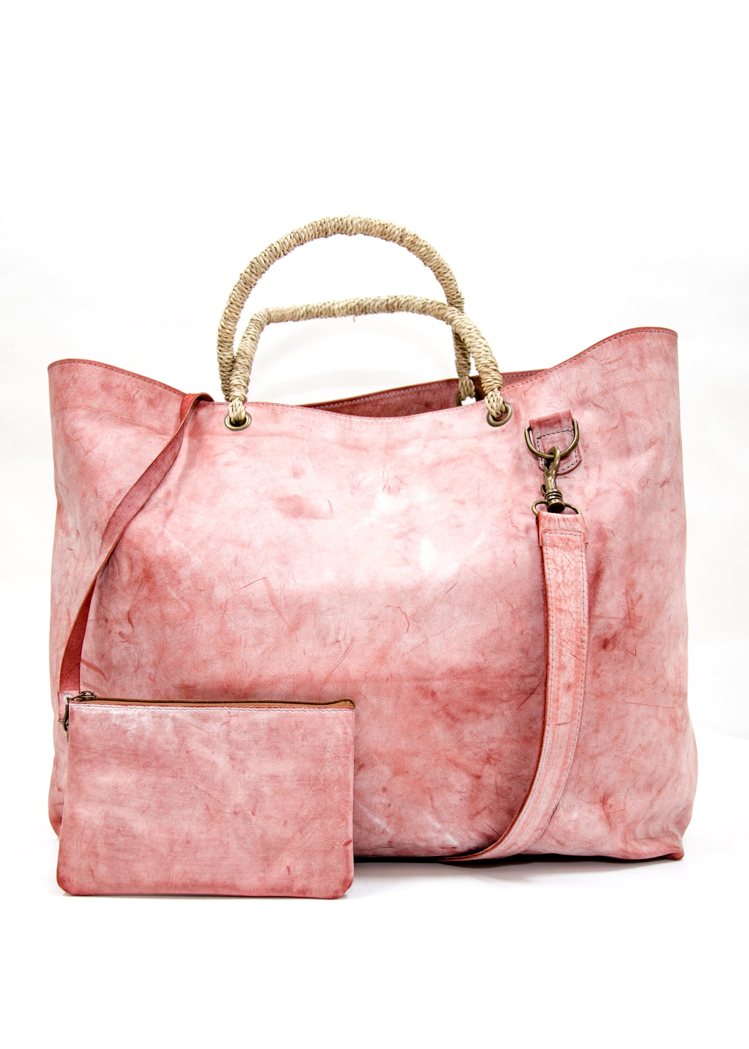 Large Pink Leather Tote