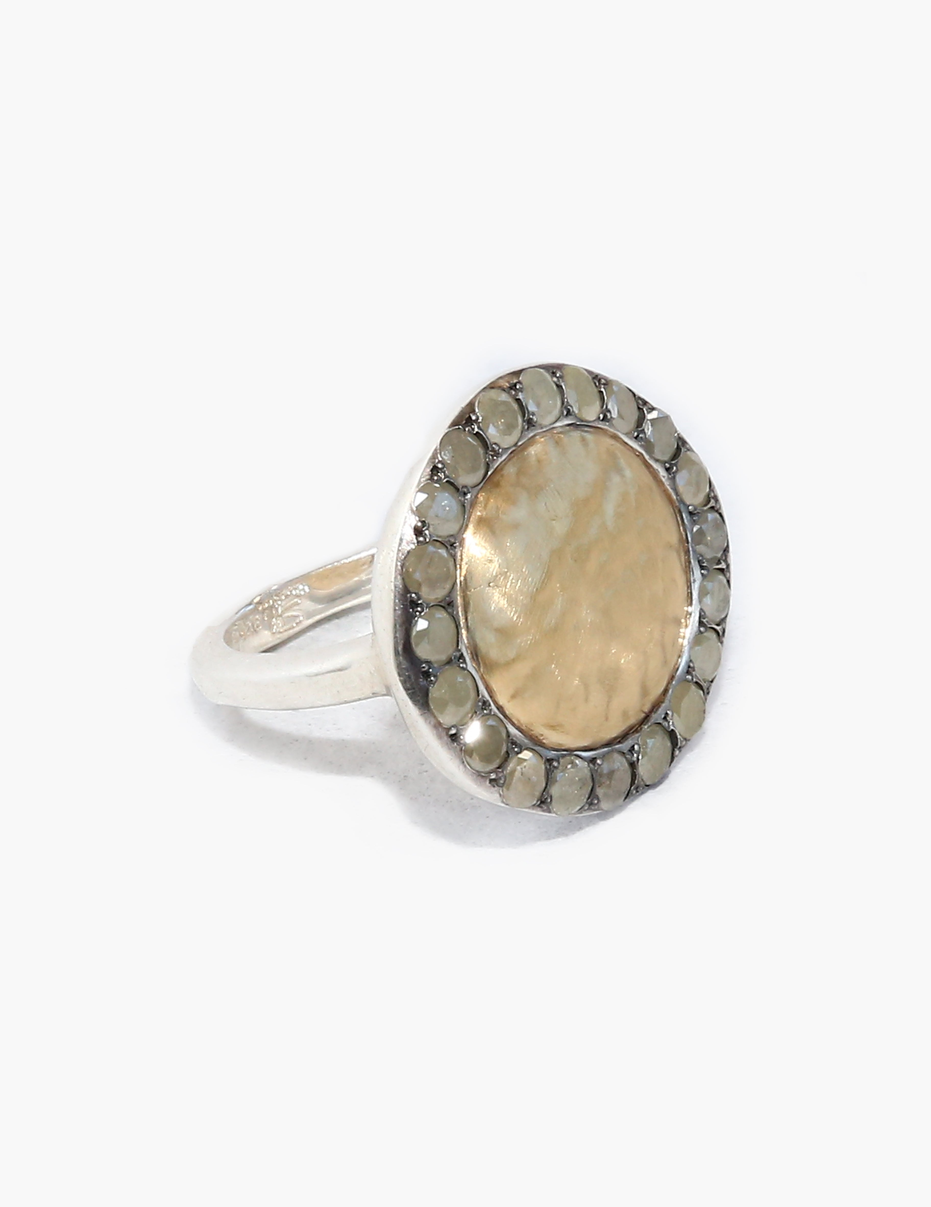 Julia Ring with Hammered Yellow Gold Center