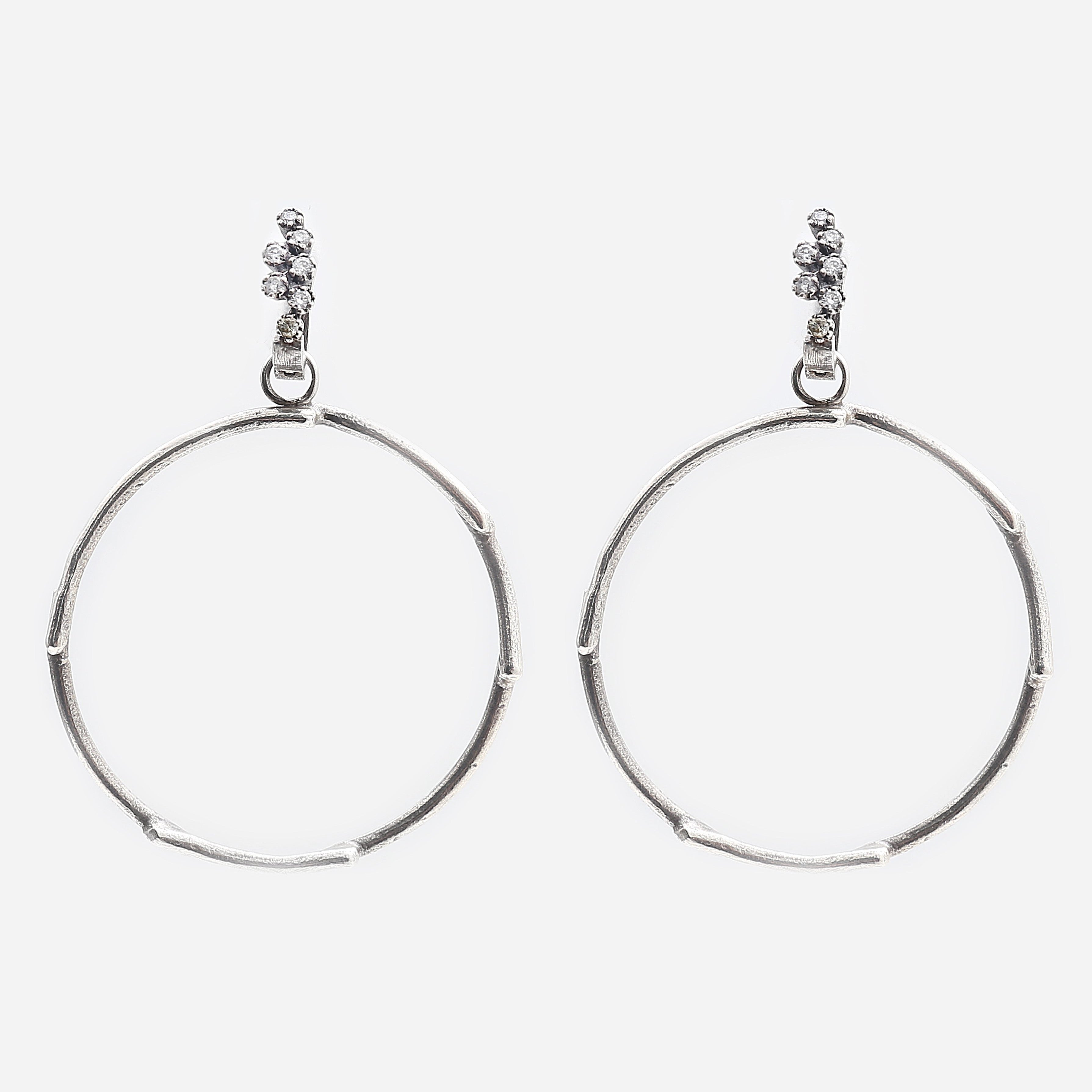 Branch Silver and Diamonds Hoops
