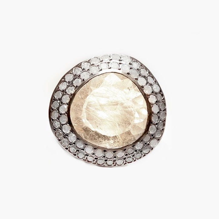 Golden Rutilated Quartz and White Diamonds Ring