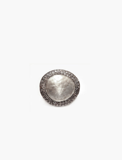 Hammered Silver Ring with Icy Grey Diamonds