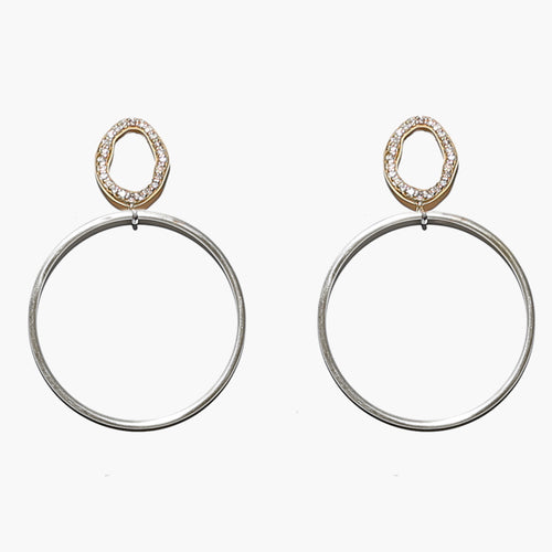 Silver and Gold Diamond Hoops