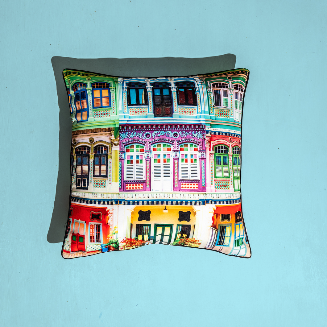 Colourful Rowhouses Design Cushion Cover