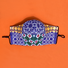 Load image into Gallery viewer, Signature Peranakan Dual Fabric Mask - Collage Blue