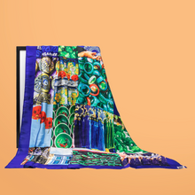 Load image into Gallery viewer, Singapore Pop Art Print Scarf - Midnight Blue