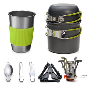 Camping Cookware Stove Carabiner Canister Stand Tripod and Stainless Steel Cup, Tank Bracket, Fork Spoon Kit(DS101)