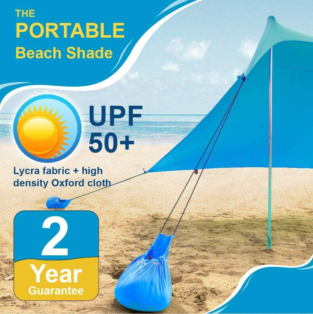 Portable Beach Canopy Sun Shelter - 7.6' x 7.2'
