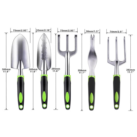 Image of Garden Tool Set, 5 Piece Aluminum Gardening Shovel Gifts Kit Includes Hand Trowel, Transplant Trowel, Cultivator, Hand Rake, and Weeder with Non-Slip Ergonomic Rubber Grip