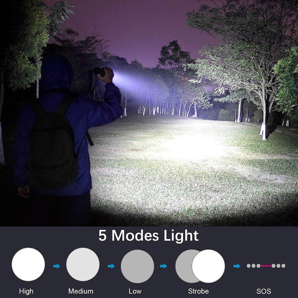 3000 Lumens LED Flashlights , Zoomable 5 Modes USB Rechargeable
