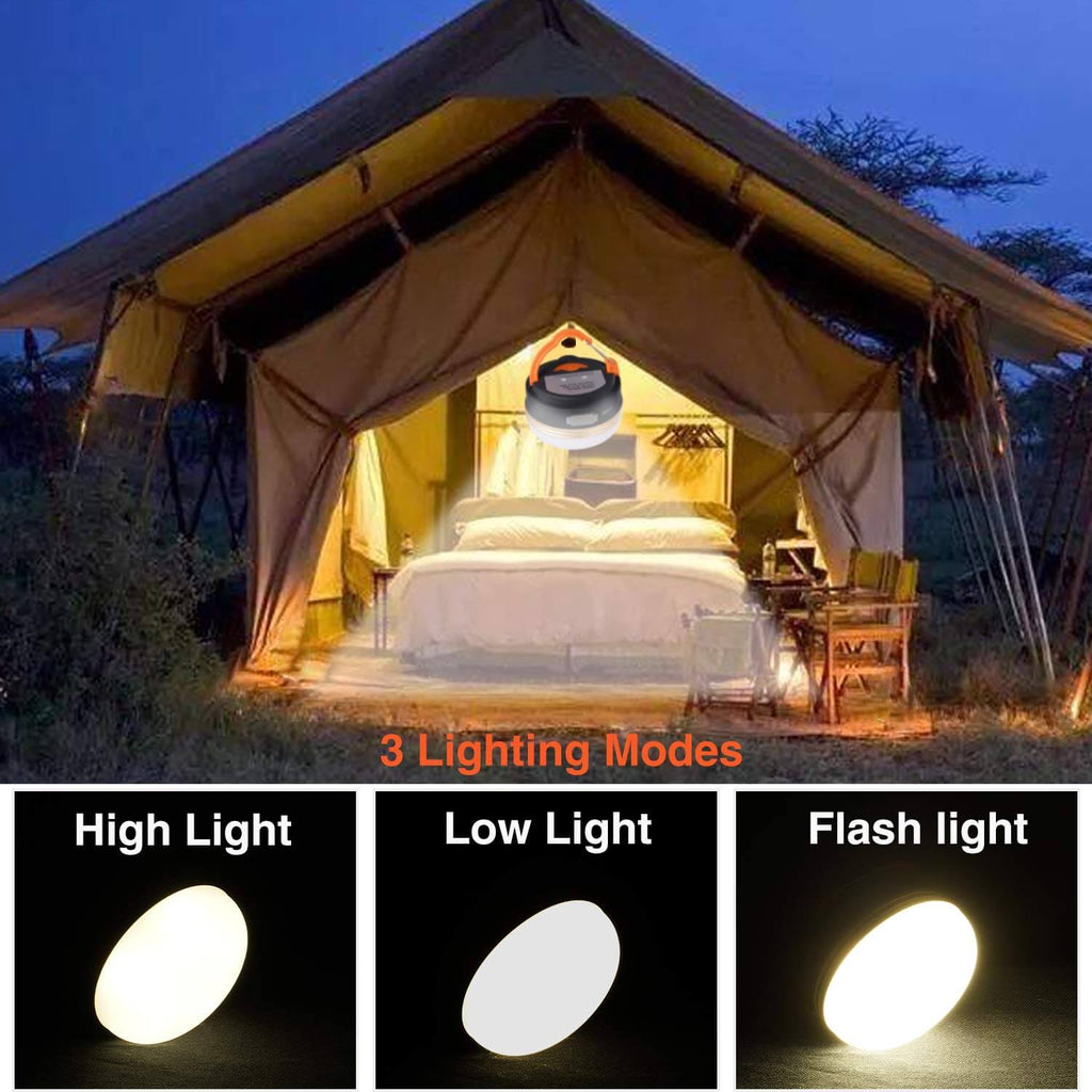 3 Modes USB Rechargeable LED Camping Lantern with Magnetic Base Waterproof