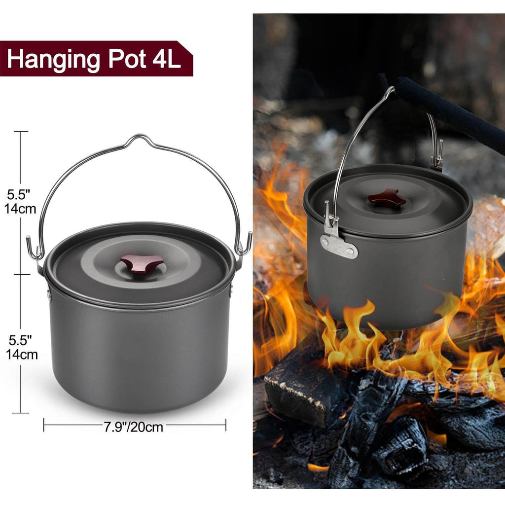 22pcs Camping Cookware Mess Kit, Large Size Hanging Pot Pan Kettle with Base Cook Set for 4, Cups Dishes Forks Spoons Ki
