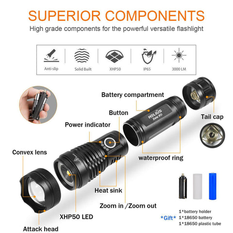 Image of 3000 Lumens LED Flashlights , Zoomable 5 Modes USB Rechargeable