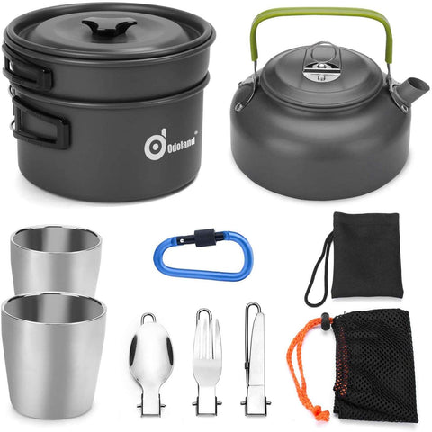 Image of 10pcs Camping Cookware Mess Kit, Lightweight Pot Pan Kettle with 2 Cups, Fork Spoon Kit