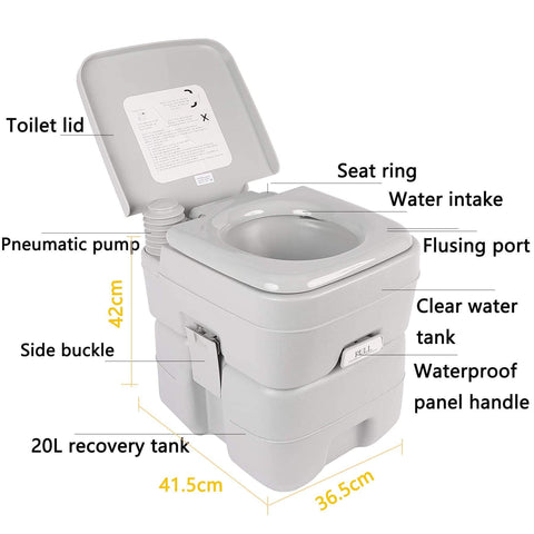 Image of 5.3Gallon 20L Portable Toilet 330LBS/150KG