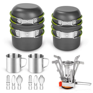 16pcs Camping Cookware Mess Kit, Lightweight Pot Pan Mini Stove with 2 Cups, Fork Spoon Kits