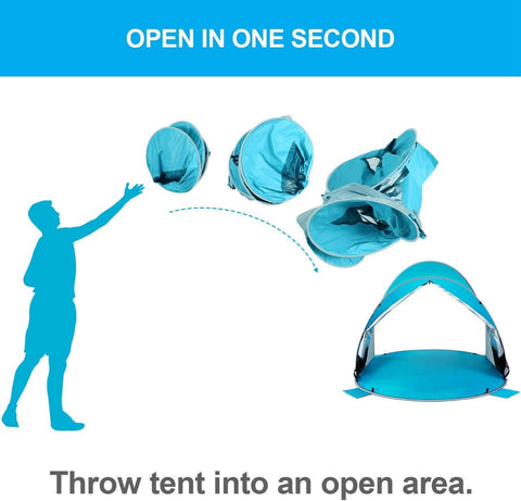 Image of 3-4 Person Easy Pop Up Beach Tent UPF 50+