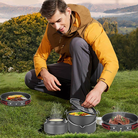 Image of 22pcs Camping Cookware Mess Kit, Large Size Hanging Pot Pan Kettle with Base Cook Set for 4, Cups Dishes Forks Spoons Ki