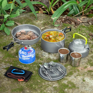 10pcs Camping Cookware Mess Kit, Lightweight Pot Pan Kettle with 2 Cups, Fork Spoon Kit