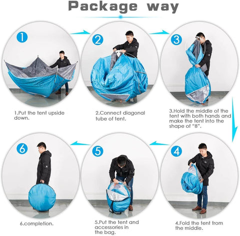 Image of 3-4 Person Waterproof Instant Pop Up Camping Tent