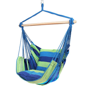 Hammock Chair with Two Cushions, 34 Inch Wide Seat Blue & Green Stripes