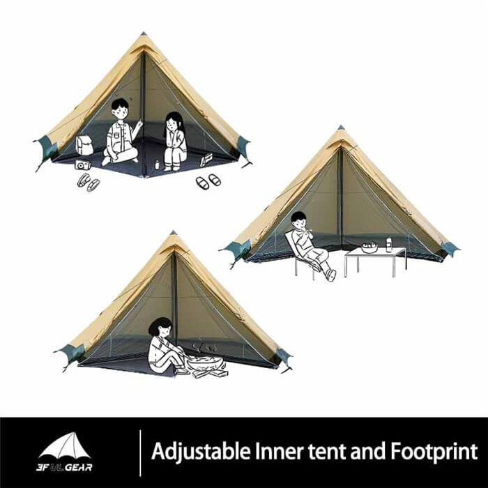 3F UL Tribe Pyramid Tipi Tent 4-6 Person