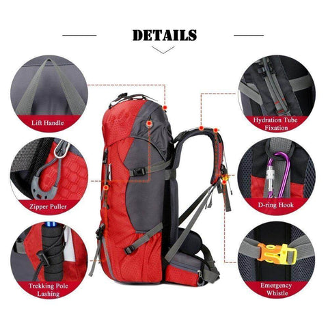 60L Waterproof Lightweight Hiking Backpack with Rain Cover,Outdoor Sport Travel Daypack