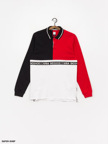 DC Simmons WALKEY Longsleeve POLO Black/Red