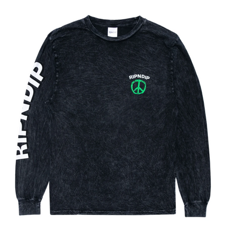 Ripndip Peace No Love Longsleeve Black Mineral Wash