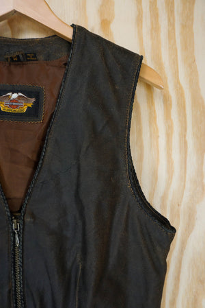 Leather vest Harley Davidson brown - size S