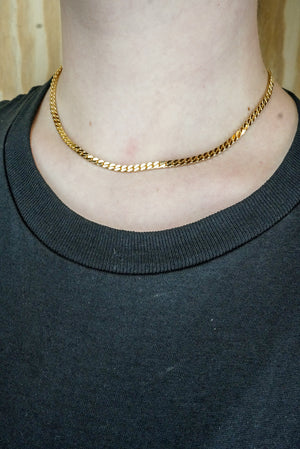 "Necklace flat cuban chain ""gold"""