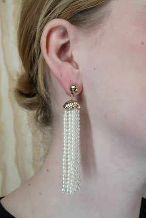 80's earrings 'pearl fall'