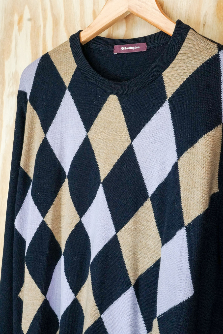 Argyle knit, crew-neck 'Burlington' - size L