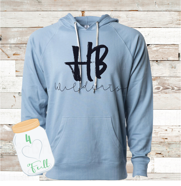 Adult HB Wildcats Blue Hooded Sweatshirt