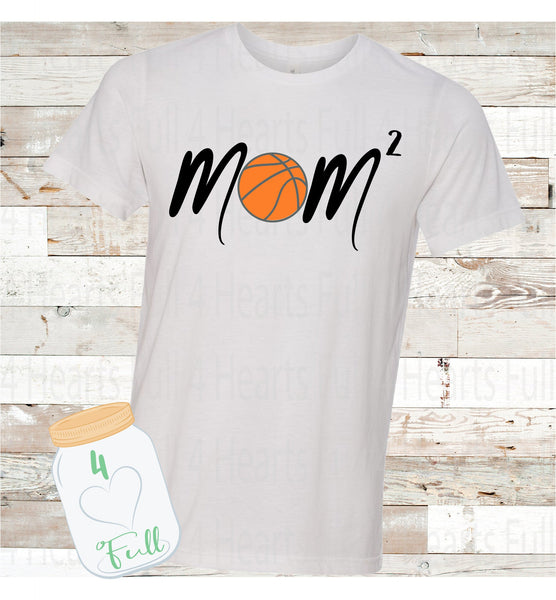 Basketball Mom Squared (2 Kiddos) Personalize for more kids Tee Unisex Adult