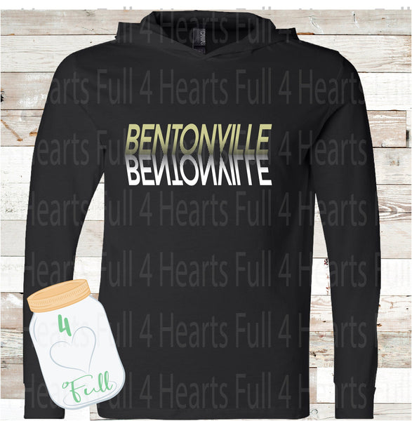 Bentonville Reflection Black Hooded long sleeve Tee