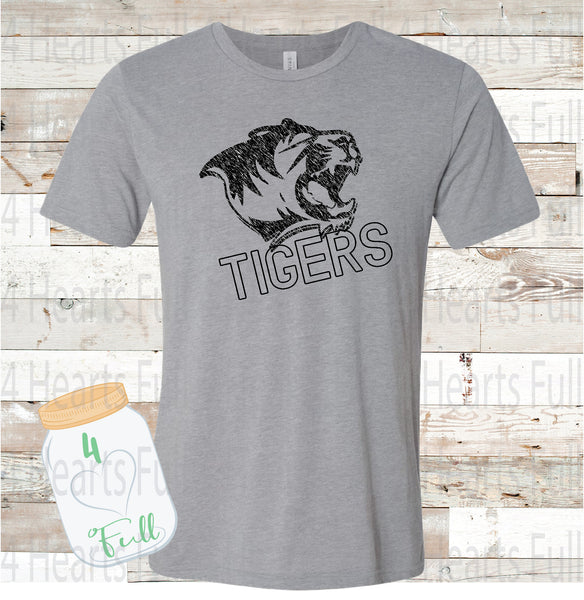 Youth Tigers Distressed Gray Tee