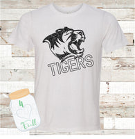 Tigers Distressed Gray, or White Tee