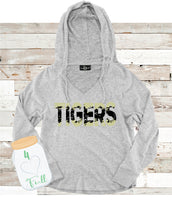 Tigers Gray Hooded or Crew Neck Cuddle Fleece (more sweater like)