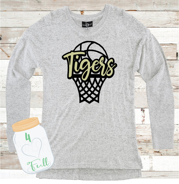 Tigers Basketball Gray Hooded or Crew Neck Cuddle Fleece (more sweater like)