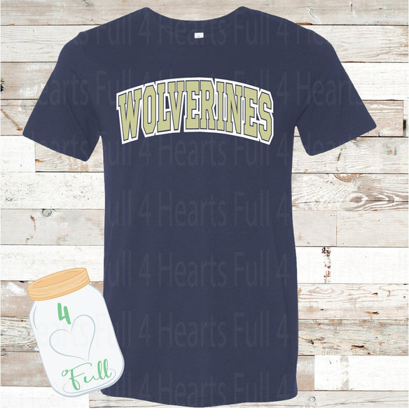 Adult and Youth Wolverines Arched Navy or Grey Bella Canvas Tee