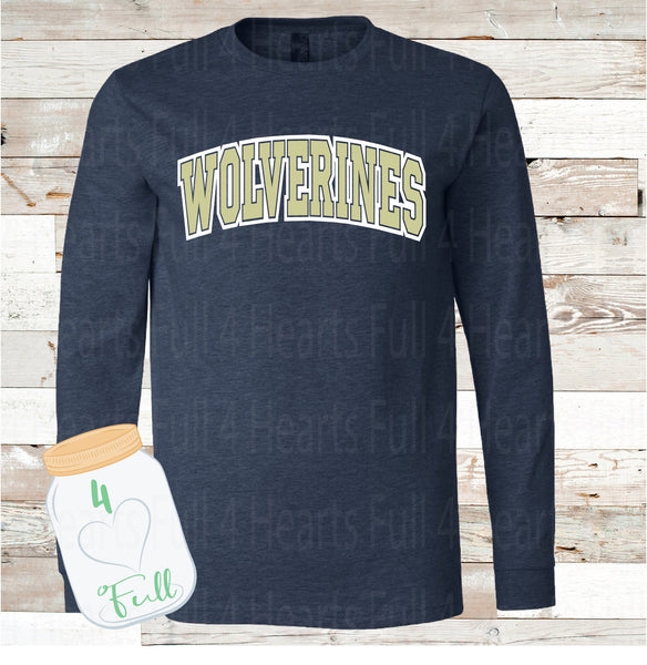 Adult and Youth Wolverines Navy or Grey long sleeve Tee