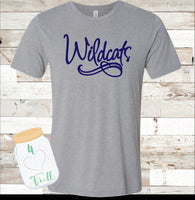 Adult and Youth Wildcats Navy or Grey Bella Canvas Tee