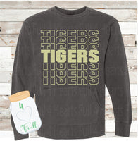 Tigers Word Art Pepper Gray Hooded or Without a Hoodie Pullover