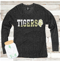Tigers Diagonal Word Art Charcoal Hooded or Crew Neck Cuddle Fleece (more sweater like)