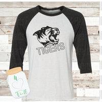 Tigers Distressed White Raglan Tee
