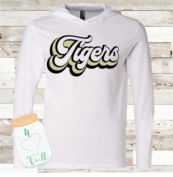 Retro Tigers White Hooded long sleeve Tee