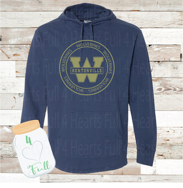 Circle West Wolverines Gray or Navy Hooded Pullover